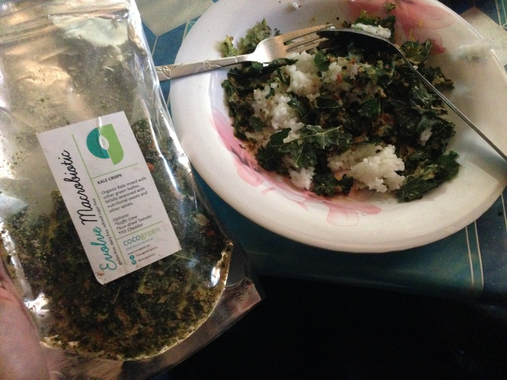 Evolve Cocogreen Kale Chips with white rice and white beans, because the only thing available outside this is sardines