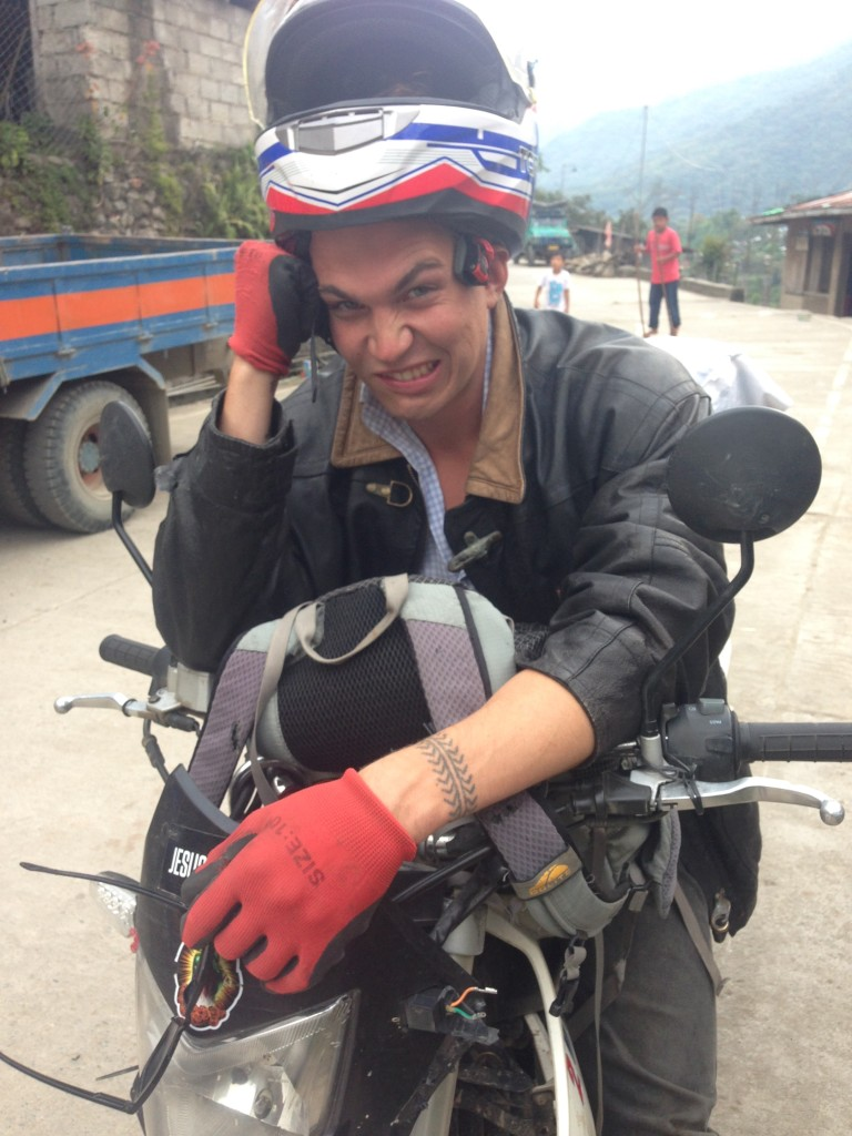 Meet the Ozzie in the Mountains. A 22 year old from Melbourne who migrated to Buscalan Village says hi from his motobike