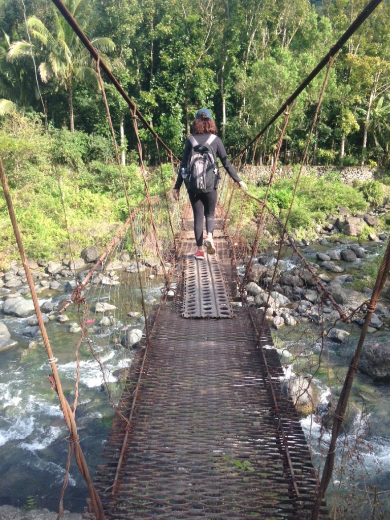Fighting my fear of heights with this rocky swinging hanging bridge
