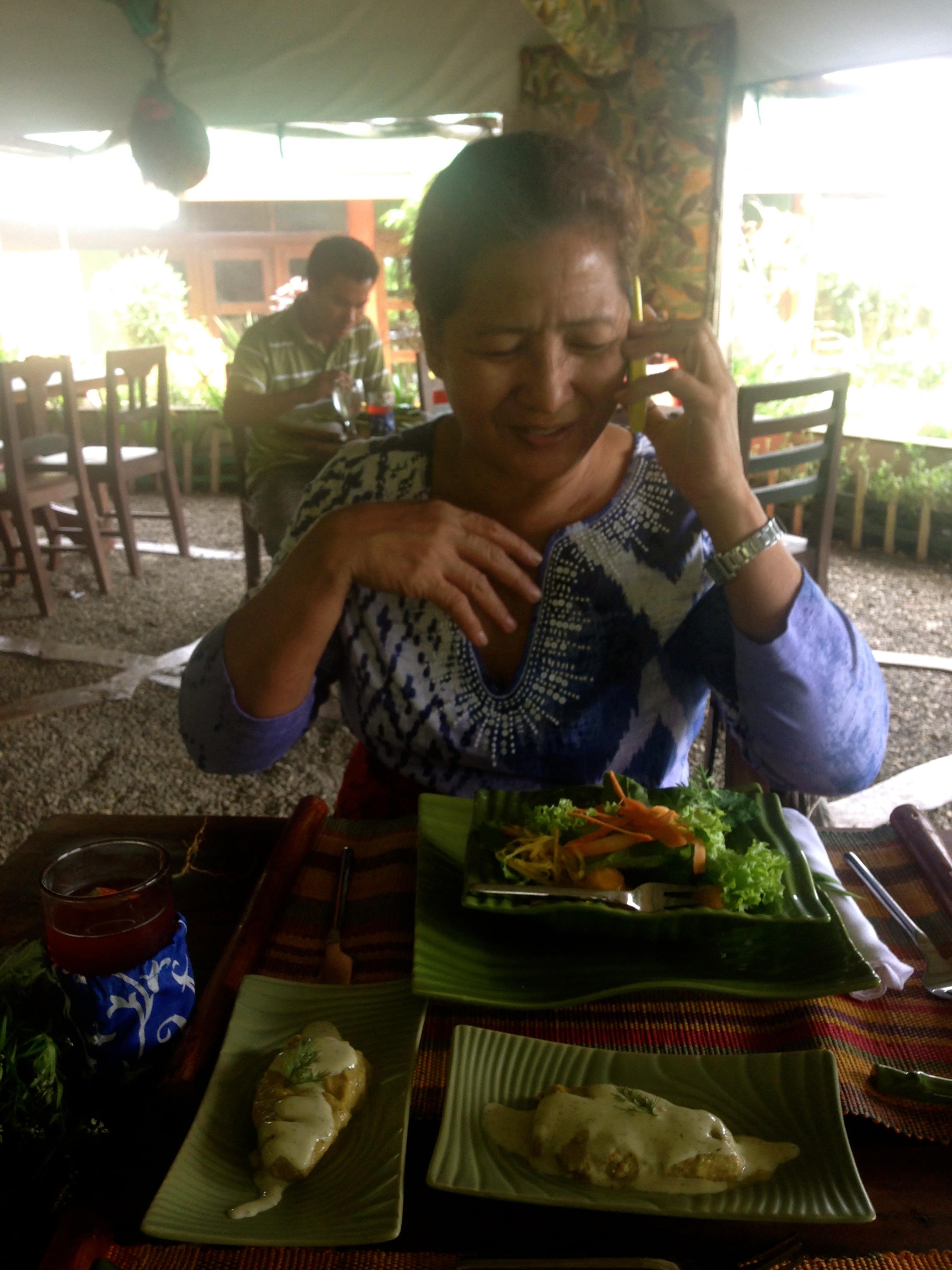 My Mom enjoying her healthy lunch at Dr Hos Organic Restaurant